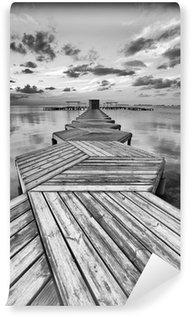 Carta da Parati in Vinile Dock Zig Zag in bianco e nero