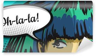 Carta da Parati in Vinile Donna capolino, fumetti arte urbana, fumetto
