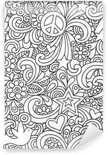 Carta da Parati in Vinile Doodles Notebook Seamless pattern Psychedelic Groovy