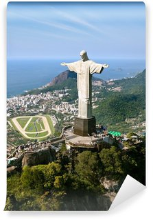 Carta da Parati in Vinile Drammatica Veduta aerea di Rio De Janeiro e il Cristo Redentore