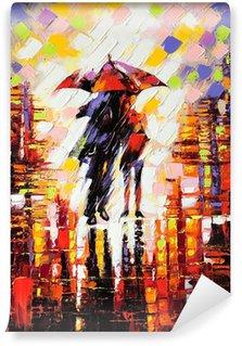 Carta da Parati in Vinile Due innamorato sotto un ombrello