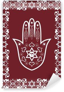 Carta da Parati in Vinile Ebraica amuleto sacro - hamsa o mano Miriam, vettore