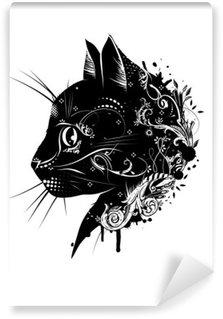 Carta da Parati in Vinile Ein floreali verzierter Kopf einer Katze .__ Katzenkopf im Scherenschnitt Stil__