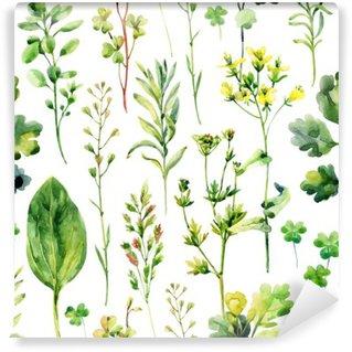 Carta da Parati in Vinile Erbacce prato acquerello ed erbe seamless pattern