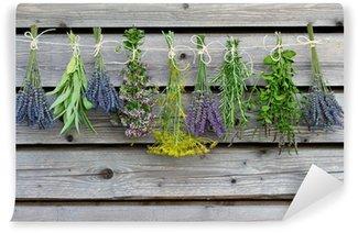 Carta da Parati in Vinile Erbe di essiccazione sul granaio di legno in giardino