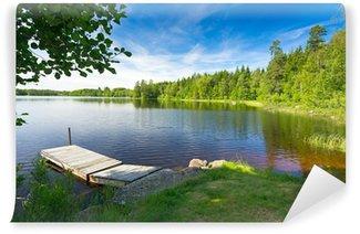Carta da Parati in Vinile Estate lago svedese nella luce del mattino