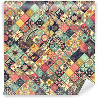 Carta da Parati in Vinile Ethnic floral seamless pattern