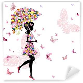 Carta da Parati in Vinile Fiore ragazza con l'ombrello