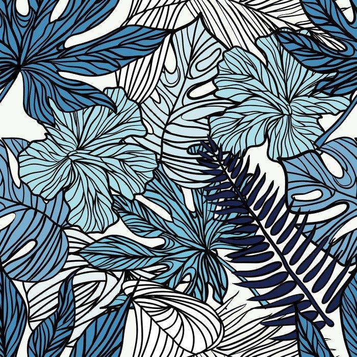 Carta da parati in vinile fiori esotici tropicali e piante for Carta parati vinile