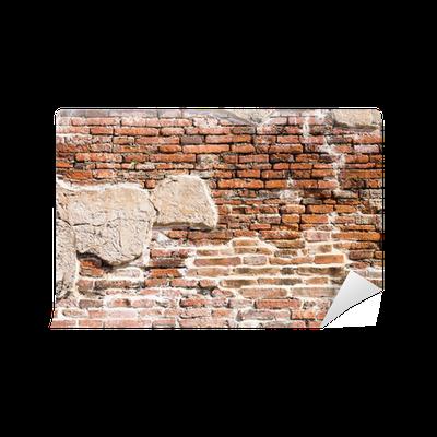 Carta da parati frammento di muro di mattoni antichi for Carta da parati muro mattoni