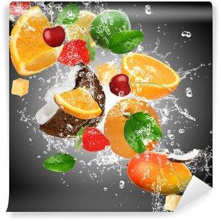 Carta da Parati in Vinile Frutta con spruzzi d'acqua