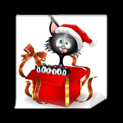 Carta da parati gatto di cartone animato su regalo di - Cartone animato natale agrifoglio di natale ...