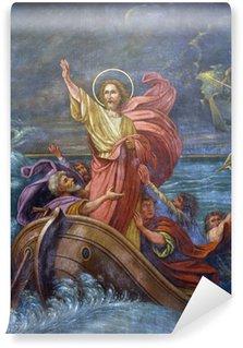 Carta da Parati in Vinile Gesù calma una tempesta sul mare