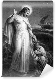 Carta da Parati in Vinile Gesù Cristo che camminava sul mare