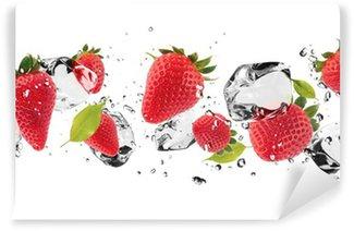Carta da Parati in Vinile Ghiaccio frutta su sfondo bianco
