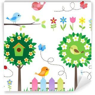 Carta da Parati in Vinile Giardino set con uccelli, alberi in fiore, fiori e insetti.