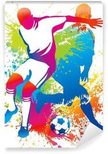 Carta da Parati in Vinile Giocatori di calcio con un pallone da calcio