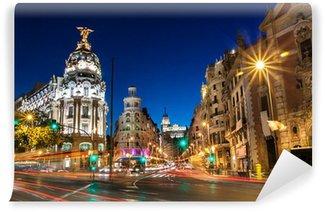 Carta da Parati in Vinile Gran Via a Madrid, Spagna, Europa.