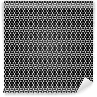 Carta da Parati in Vinile Griglia di metallo grigio, sfondo nero