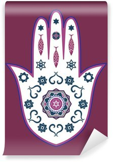 Carta da Parati in Vinile Hamsa ebraico amuleto mano - o mano Miriam, illustrazione vettoriale