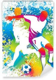 Carta da Parati in Vinile I giocatori di calcio con un pallone da calcio