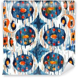 Carta da Parati in Vinile Ikat modello etnico bohemien senza soluzione di continuità in stile acquerello. Acquerello ornamenti orientali.