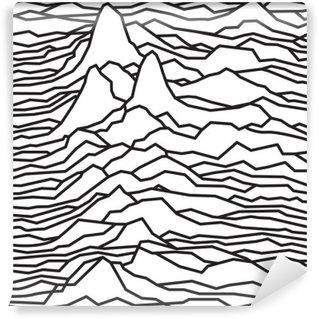 Carta da Parati in Vinile Il ritmo delle onde, la pulsar, linee vettoriali disegno, linee spezzate, montagne