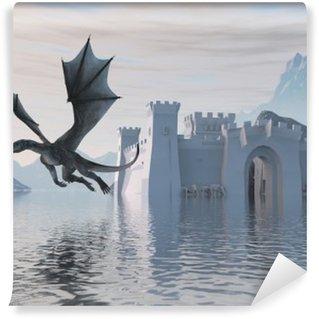 Carta da Parati in Vinile Illustrazione 3D di un castello sull'acqua e Drago