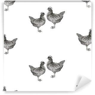 Carta da Parati in Vinile Illustrazione con galline e pulcini.