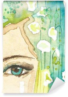 Carta da Parati in Vinile Illustrazione del ritratto astratto di una donna