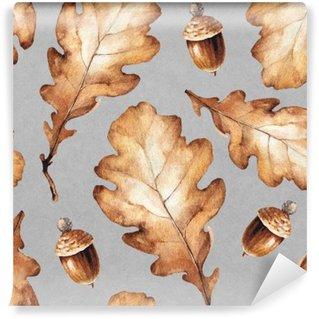 Carta da Parati in Vinile Illustrazioni ad acquerello di foglie. Seamless pattern