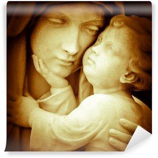 Carta da Parati in Vinile Immagine d'epoca della vergine Maria trasporto Gesù bambino