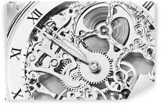 Carta da Parati in Vinile In bianco e nero vista vicina di meccanismo di orologio