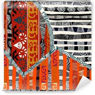 Carta da Parati in Vinile Indiano tribale illustrazione pattern.Vector senza soluzione di continuità