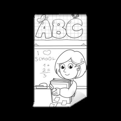 Carta da parati in vinile insegnante di scuola del fumetto for Carta parati libri