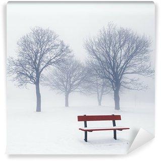Carta da Parati in Vinile Inverno alberi e panca nella nebbia