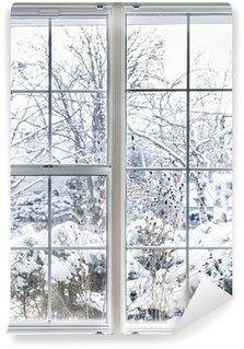 Carta da Parati in Vinile Inverno vista attraverso la finestra