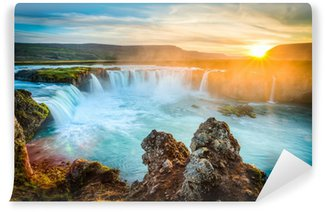 Carta da Parati in Vinile Islanda, Godafoss al tramonto, bella cascata, lunga esposizione