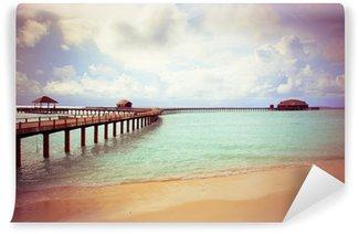 Carta da Parati in Vinile Isola in oceano, Maldives, con un effetto retrò