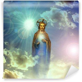 Carta da Parati in Vinile Jesus christ statua d'oro con il cielo blu nuvole di sfondo