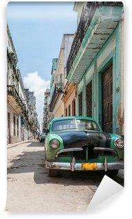 Carta da Parati in Vinile L'Avana vecchia auto scuola