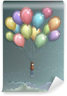 Carta da Parati in Vinile L'uomo volare con palloncini colorati