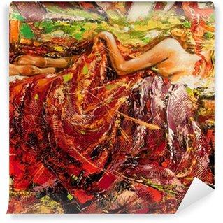Carta da Parati in Vinile La ragazza dorme disegnata da olio su tela