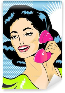 Carta da Parati in Vinile Lady in chat sul telefono - Clip Art Retro