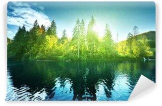 Carta da Parati in Vinile Lago nella foresta, Croazia, Plitvice