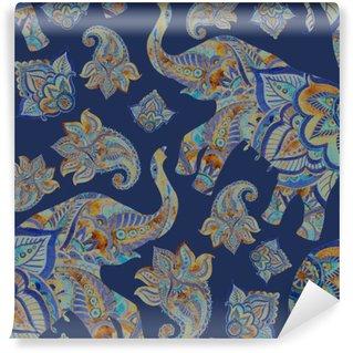 Carta da Parati Lavabile Acquerello elefante etnico con elementi paisley sfondo.