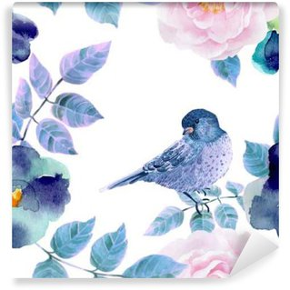 Carta da Parati Lavabile Acquerello modello senza soluzione di continuità con fiori e uccelli.