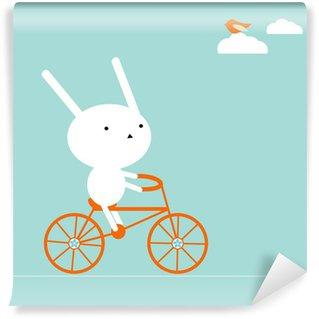 Carta da Parati Lavabile Bunny su una bici
