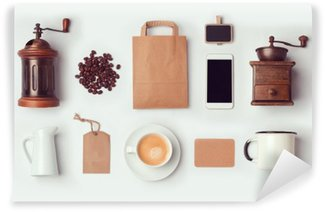 Carta da Parati Lavabile Coffee shop mock up modello per il branding identity design. Vista dall'alto. disteso