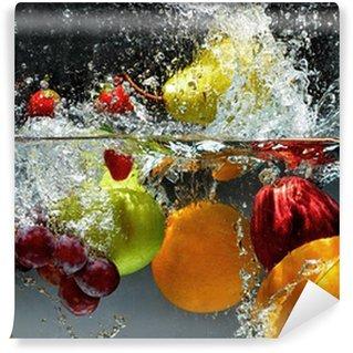 Carta da parati in vinile frutta e verdura in acqua for Carta parati lavabile